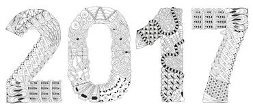 Number 2017 Zentangle. Vector decorative object. Hand-painted art design. Adult anti-stress coloring page. Black and white hand drawn illustration for coloring Stock Images