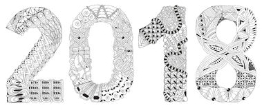 Number 2018 Zentangle. Vector decorative object. Hand-painted art design. Adult anti-stress coloring page. Black and white hand drawn illustration for coloring Stock Photo