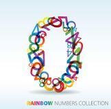 Number zero. Made from colorful numbers Royalty Free Stock Photos