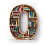 Number 0 zero. Alphabet in the form of shelves with books isolat. Ed on white. 3d illustration Stock Images