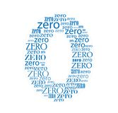 Number zero blue formed with text letters Royalty Free Stock Images