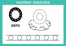Number zero exercise. Illustration vector stock illustration