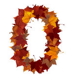 Number zero with fall leaf isolated Stock Images