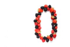 Number zero with fruits. Number zero made from strawberry, raspberry and blackberry fresh fruits Stock Photography