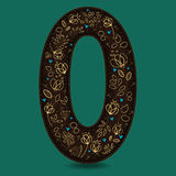 Number Zero with Golden Floral Decor Royalty Free Stock Images