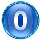 Number zero icon blue. Number zero icon blue, isolated on white background Royalty Free Stock Images