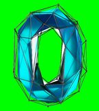 Number 0 zero in low poly style blue color isolated on green background. 3d. Rendering Vector Illustration