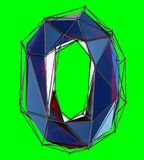 Number 0 zero in low poly style blue color isolated on green background. 3d. Rendering royalty free illustration