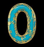 Number zero 0 made of golden shining metallic with blue paint isolated on black 3d. Rendering stock photo