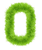 Number Zero 0 made of green grass. Stock Images