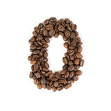 The number zero from roasted coffee beans.White background. Royalty Free Stock Photos