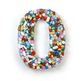 Number 0 zero. Set of alphabet of medicine pills, capsules Stock Photo