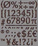 Numberal mathematical symbol stone letter set Stock Images
