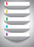 Numbered abstract white banners with shadows Royalty Free Stock Photos