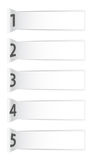 Numbered abstract white banners with shadows Royalty Free Stock Images