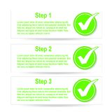 Numbered banners with check mark stickers. Eps 10 Royalty Free Stock Image