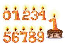 Numbered Birthday Candles. And Cake Royalty Free Stock Image