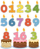 Numbered Birthday Candles. With cakes, isolated on white background. Eps file available vector illustration