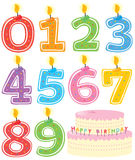 Numbered Birthday Candles and Cake. Numeral Birthday Candles and Cake Isolated on white royalty free illustration