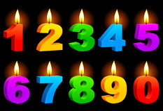 Numbered candles. Set of 10 numbered color candles Royalty Free Stock Photos