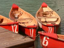 Numbered Canoes royalty free stock photography