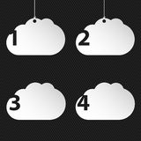 Numbered cloud network icons on black background Royalty Free Stock Photography