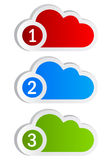 Numbered cloud shapes. Over white Royalty Free Stock Images