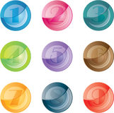 Numbered colored buttons. Set icons. Royalty Free Stock Photos