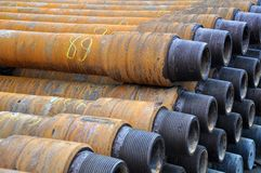 Numbered drilling pipеs royalty free stock images