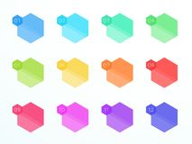 Numbered Flat Hexagon Text Boxes 1 to 12 Vector. Vector, flat colorful hexagon text box set numbered 1 to 12 with blank area for text on a subtle gradient Stock Image