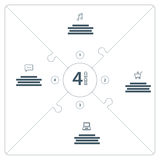 Numbered flat line puzzle presentation infographic chart with explanatory text field  on white background. Vector graphic template Stock Photography
