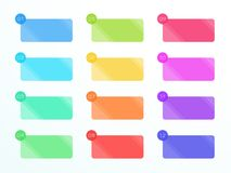 Numbered Flat Rectangle Text Boxes 1 to 12 Vector. Vector, flat colorful rectangle text box set numbered 1 to 12 with blank area for text on a subtle gradient Stock Photography