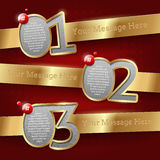 Numbered golden banners. Design templates with numbered golden banners Stock Image