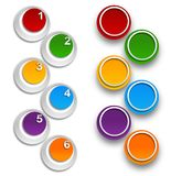 Numbered infographics list design. White palette over white background Stock Image