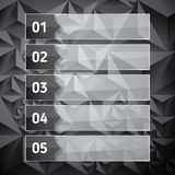 Numbered list template with transparent glass rectangles. Stock Photos