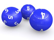 Numbered lottery balls. 3d illustration of numbered blue lottery balls on white background Royalty Free Stock Photos
