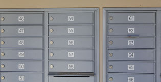 Numbered Metal Mailboxes Stock Photo