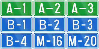Numbered motorway shields in Bosnia and Herzegovina Stock Images