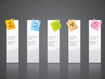 Numbered notepapers attached to white labels Stock Photography
