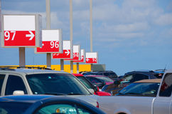 Numbered parking lot with many cars Stock Photos