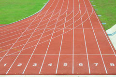 Numbered Running Track Lanes Royalty Free Stock Image
