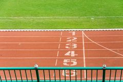 Numbered running track , Starting position Stock Image