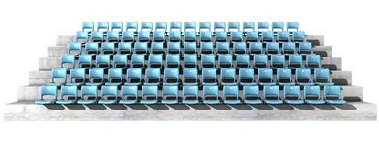 Numbered Stadium Seats. A section of numbered stadium seating with blue chairs set in rows on a sloping concrete bank Royalty Free Stock Photos