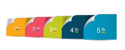 Numbered step by step diagram. Infographic flat tab. Stock Photos
