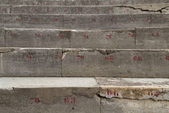 Numbered Stone Row of Seats in Ancient Theatre Royalty Free Stock Photo