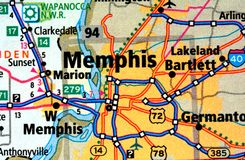 Numbered streets on the map around the city of Memphis, USA, March 12, 2019. Memphis is a city on the Mississippi River, located in southwestern Tennessee. Here royalty free stock photography