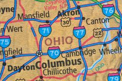 Numbered streets on the map around the state of Ohio, USA, March 6, 2019. Ohio is a central-western state of the United States. It extends from south to north royalty free stock image