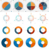 16 numbered Templates for Infographics 2, 3, 4, 5 positions. 16 numbered Templates for Infographics, pie and ring chart, with text area on two,three, four, five Stock Photography