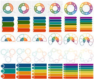 30 numbered Templates Infographics 3, 4, 5, 6, 7, 8, positions. Numbered 30 Templates Infographics with text area on three, four, five, six, seven and eight Royalty Free Stock Images