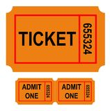 Numbered ticket. Illustration of numbered ticket, isolated on white background Stock Photos
